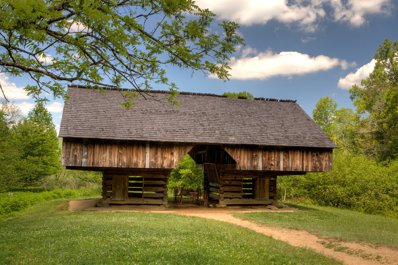 Cantilever barn at the Tipton property in Cades Cove