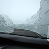 Beartooth Highway view of snow from the car