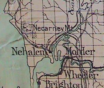 Maps and other records during the 19th century called the mountain Necarney. In 1909, developer Sam Reed used the word Neah-Kah-Nie in his advertising brochure. The new name stuck.