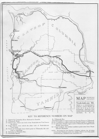"The railroad led to development along the the north coast from Neahkahnie Mountain south to Cape Meares. This map appeared in the brochure selling lots in Neahkahnie, ""the finest resort on the Oregon coast."""