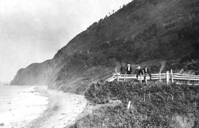 Early photos show the trail around the front of the mountain. Indians used the trail for centuries. Whites started using it in the 1840s. Construction and rock protection of Highway 101 have obliterated all but one short portion of the original trail.