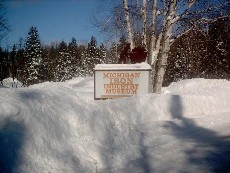 <b>Michigan Iron Industry Museum Entrance (winter)</b> - The same as the previous shot only the middle of winter. As of the date this photo was taken we'd had about 183 inches of snow so far for the season with a snowdepth right around 40 inches or so. Fairly average for that time of year. 3-2-05