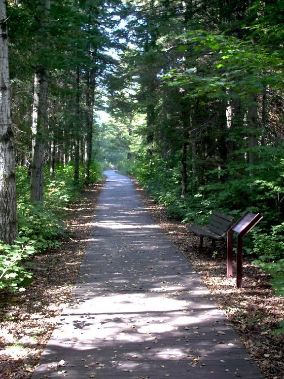 <b>Path to Michigan Iron Industry museum.</b> - The parking area is a pretty 1/4 mile walk from the museum.
