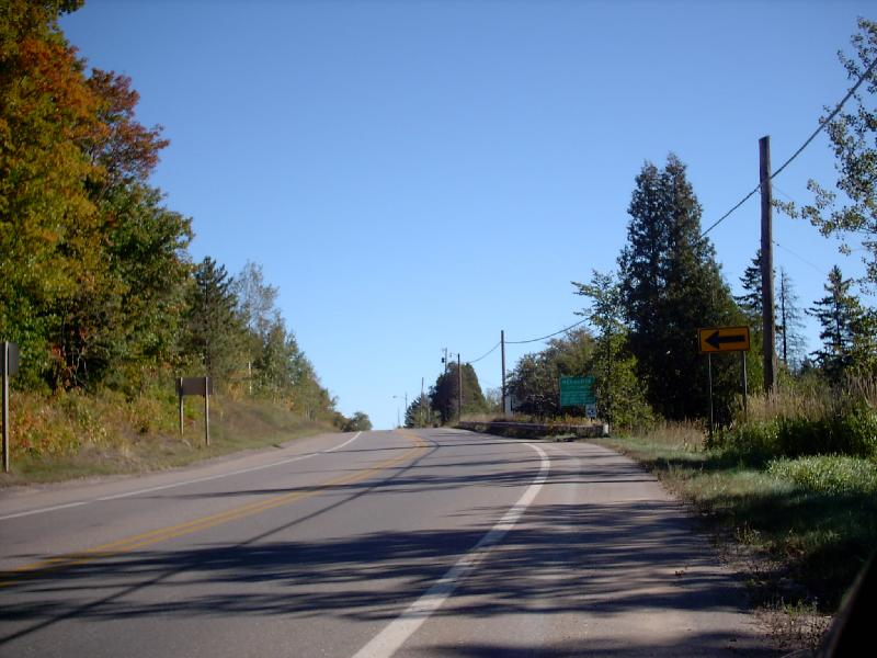 <b>Business 28 City Limits</b> - Business 28 runs about 3 miles between Negaunee and Ishpeming. This is how the road looks entering Negaunee city limits (green sign on right).