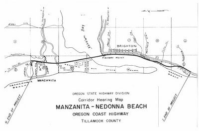 Controversy in the early 1960s over ODOT plans in south Tillamook County killed the plan to use the entire spit for a highway. Instead, ODOT suggested crossing Nehalem Bay to Fishery Point, then following the east side of the bay to Nedonna Beach. Over 200 people at a public hearing in 1970 opposed the plan. None spoke in favor.