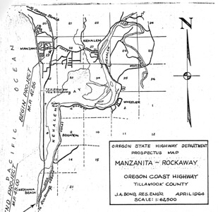 "Orginal plans for Highway 101 called for following the spit to its south end, then building a bridge to Nedonna Beach. Early visionaries for the park thought this route would allow for 1,000 campsites and ""turn the park into the Coney Island of the west.""   For additional information, see  gallery ""Highway 101"" in category ""topics."""