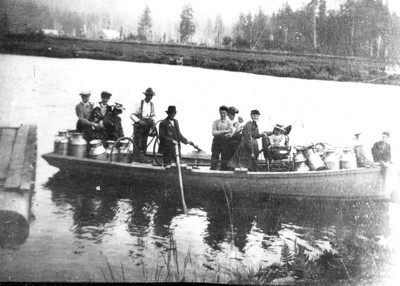 Farmers the 1890s used boats to bring milk to a cheese and butter factory near Nehalem.