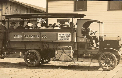 """Visitors arriving from Wheeler on the Juneta ferry rode the """"auto stage"""" to the new resorts of Manzanita and Neahkahnie near the ocean."""