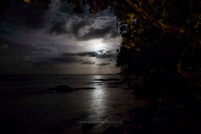 Moon over the water at Poindimie, New Caledonia.