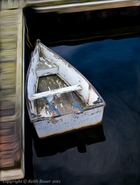 Oil Painted Boat Scene