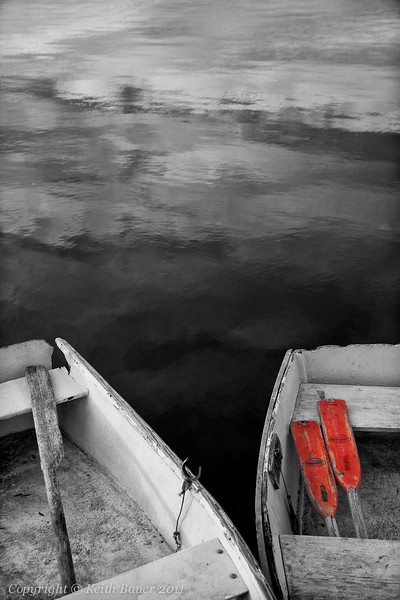 Boats in Black & White with a Touch of Color