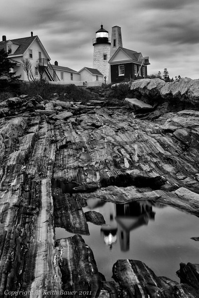 Pemaquid Point Lighthouse - Night in Black & White