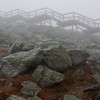 Atop Mount Washington in the driving rain and wind.