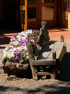 Wooden Bench and Flowers on Canyon Road