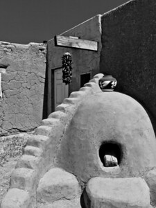 Pueblo kiln and pot B&W