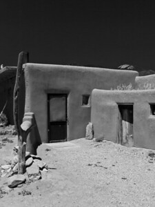 Adobe walls in Taos B&W