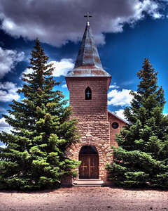 Outside the Church at Duran, NM.  This church is built of hand chiseled sandstone in 1916. (HDR)