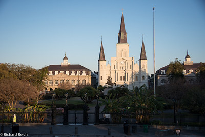 Saint Louis Cathedral across from Jackson Square in the early morning light