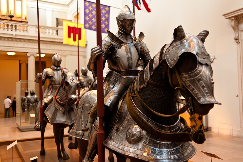 Suits of armor and weapons at the Metropolitan Museum of Art