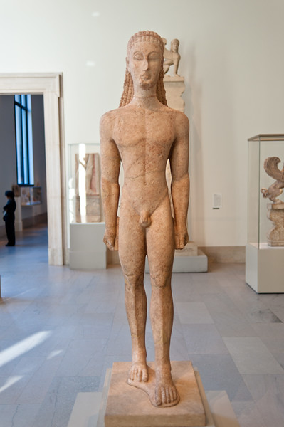 Marble statue of a kouros (youth) at the Metropolitan Museum of Art