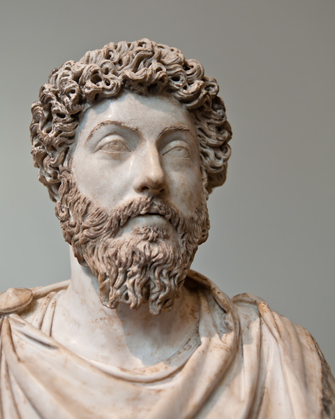 Marble portrait bust of Marcus Aurelius at the Metropolitan Museum of Art