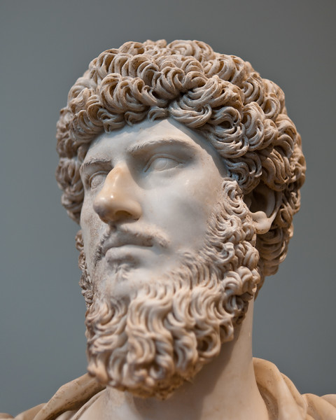 Marble portrait bust of Lucius Verus at the Metropolitan Museum of Art