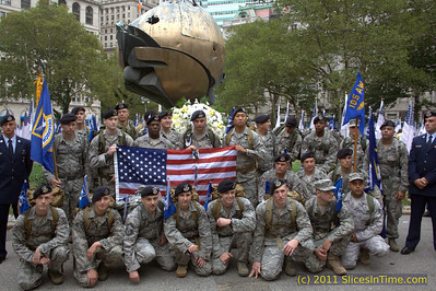 Air Force security forces members march from San Antonio to Ground Zero