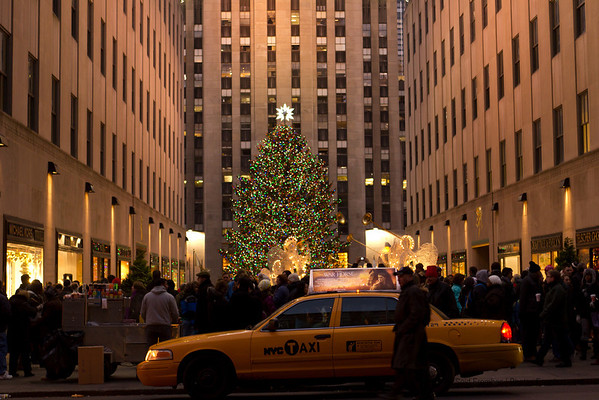 The crush of people to see the tree at Rockefeller Center one week before Christmas - December 2011