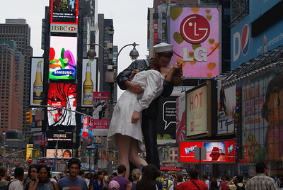 "The ""Kiss"" erected the morning this was taken, Times Square Aug 2010"