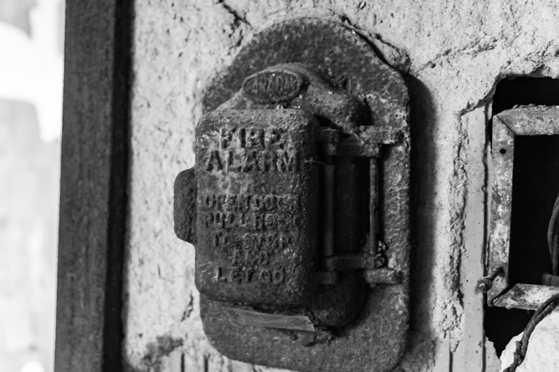 Rusted fire alarm panel in Buffalo Central Terminal