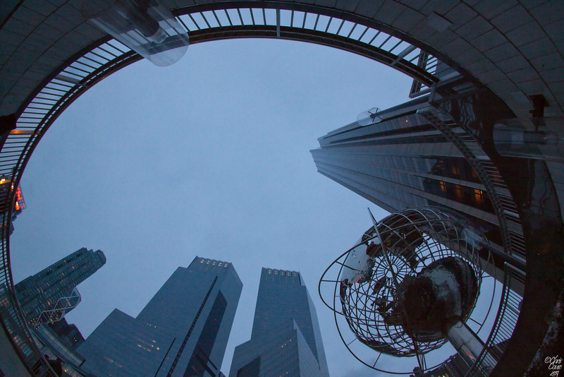 Looking to the sky from the Columbus Circle subway entrance - Manhattan