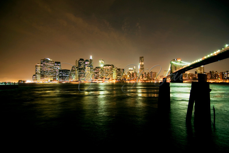 View of lower Manhattan's Financial District from Brooklyn Bridge Park