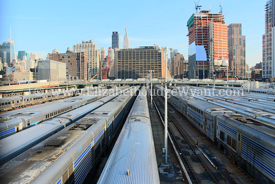 View of Trains from The High Line, New York, NY