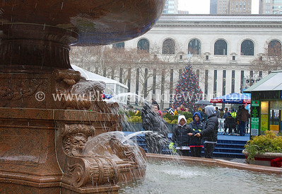 Snowy Fountain in Bryant Park, New York, NY