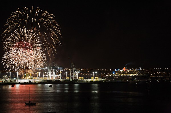 Fireworks display as the Queen Mary 2 leaves port.