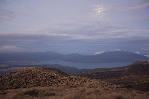 Moon over Lake Rotoaira