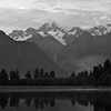 Mt. Cook and Mt. Tasman, Lake Matheson.