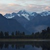 Sunrise on Mt. Cook and Mt. Tasman, Lake Matheson.