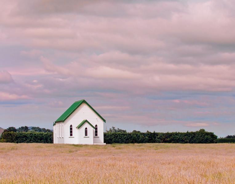 Old church in soft light near Martinborough, New Zealand