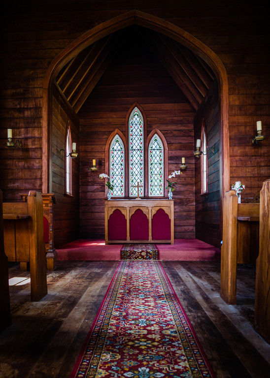 Interior of old church near Taranaki, North Island, New Zealand