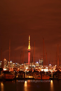 Looking out toward the Sky Tower across Westhaven Marina. Auckland, New Zealand