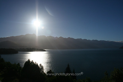 Overlooking Lake Wakatipu towards The Remarkables, Queenstown, New Zealand.