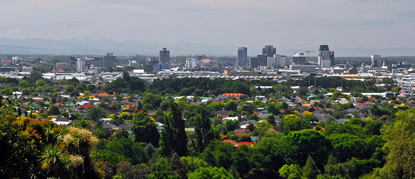 Christchurch skyline from Cashmere, New Zealand - Banner or Letterbox Format