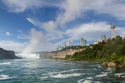 Niagara Falls from the water - Looking at the Canadian side and Horseshoe Falls
