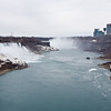 Niagara Falls with New York on left and Canada on right