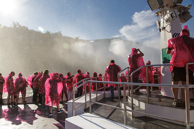 Experiencing the first blush of spray from Niagara Falls
