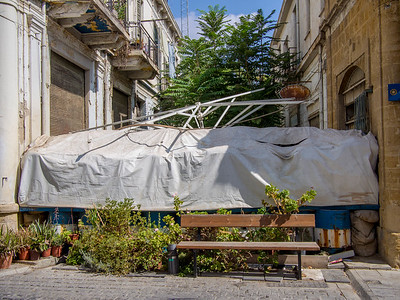 Barricade between Greek and Turkish parts of old Nicosia