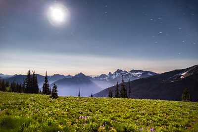 Location: Sunrise, Mt. Rainier. Looking right in to the full moon