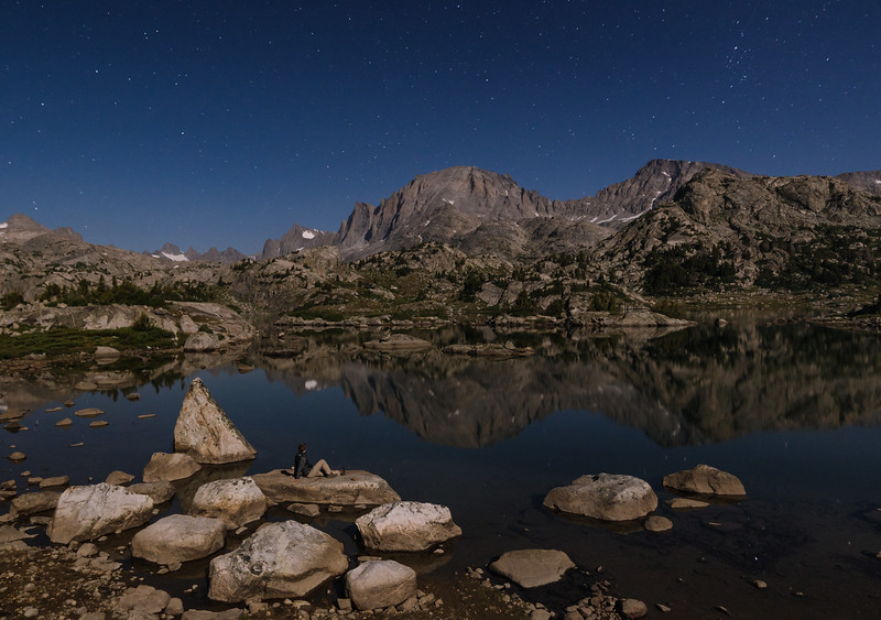 Island Lake in  Moonlight