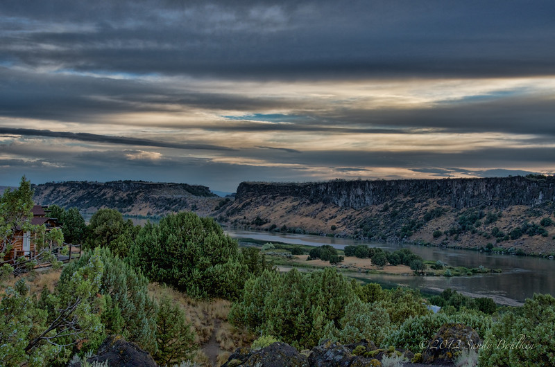 The Snake River and the cabin we stayed in.  Late evening, almost sunset.   HDR.